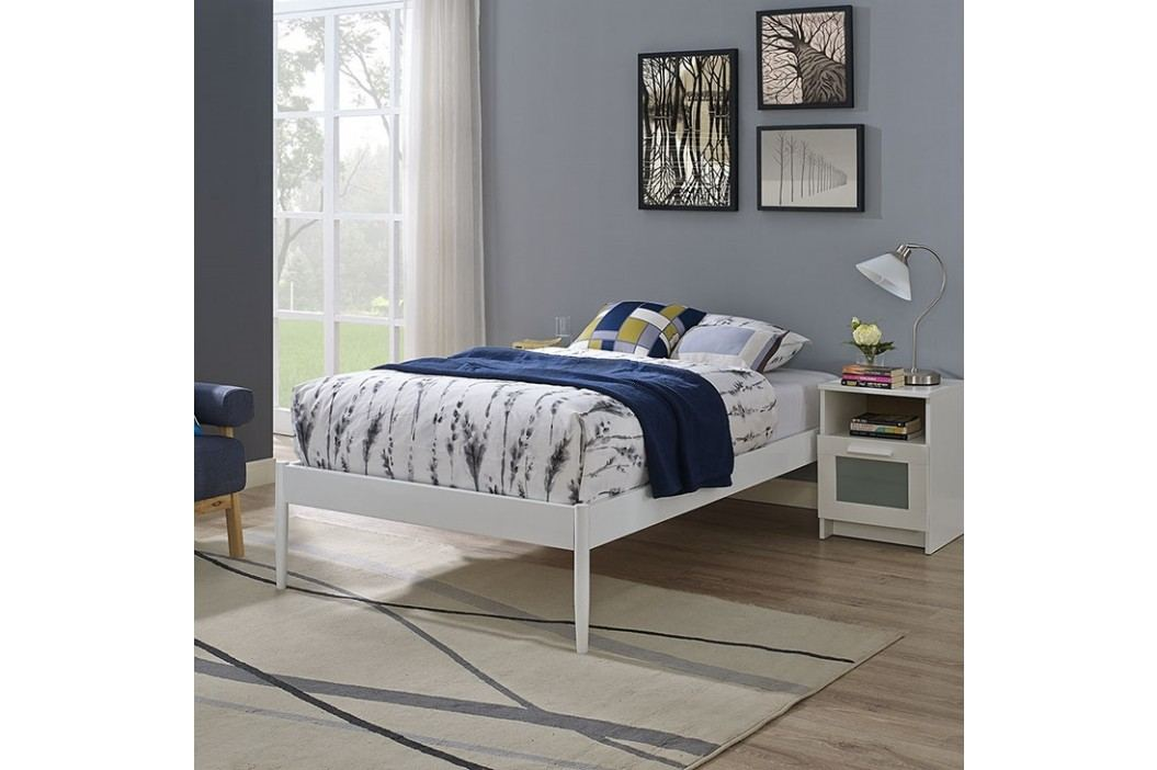 Elsie Twin Fabric Bed Frame in White Beds