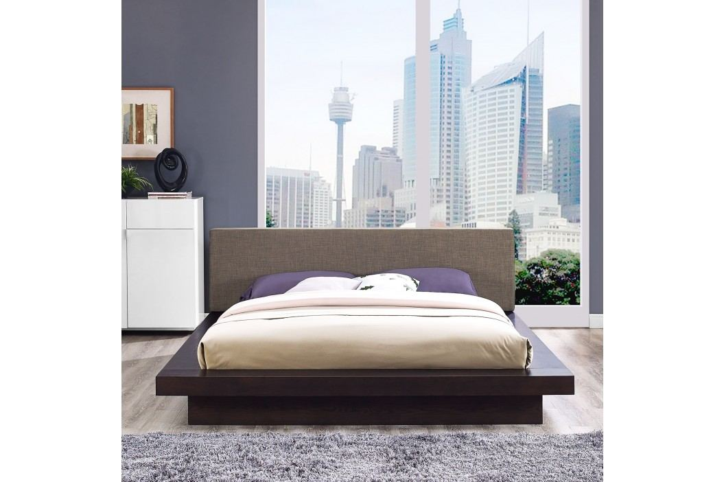 Freja Queen Fabric Platform Bed in Cappuccino Brown Beds