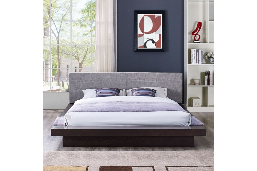Freja Queen Fabric Platform Bed in Cappuccino Gray Beds