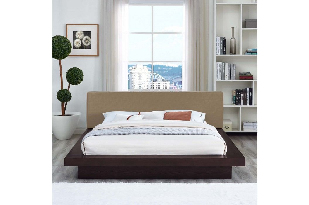 Freja Queen Fabric Platform Bed in Cappuccino Latte Beds