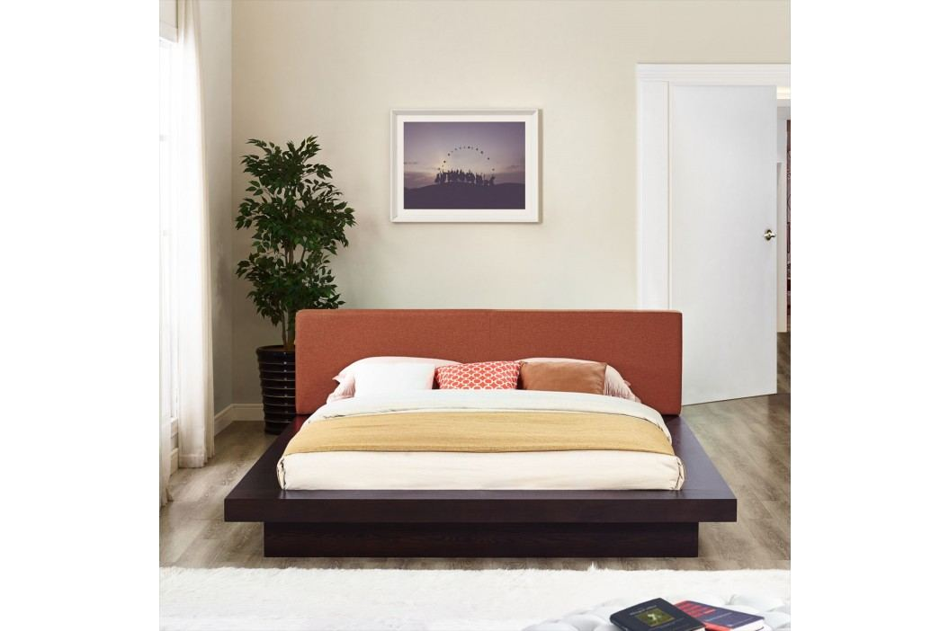 Freja Queen Fabric Platform Bed in Cappuccino Orange Beds