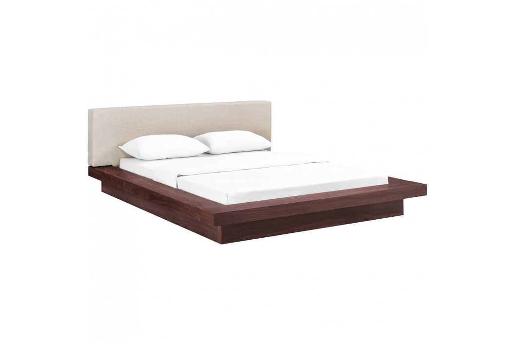 Freja Queen Fabric Platform Bed in Walnut Beige Beds