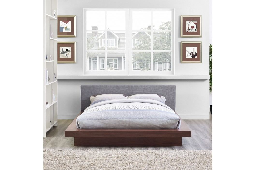 Freja Queen Fabric Platform Bed in Walnut Gray Beds
