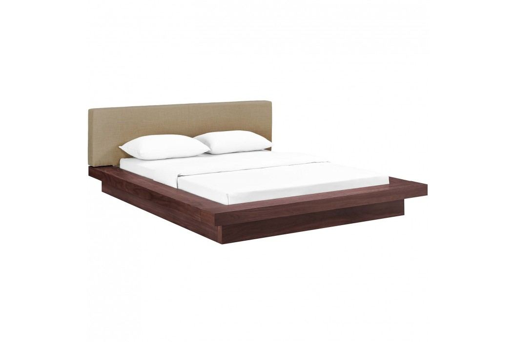 Freja Queen Fabric Platform Bed in Walnut Latte Beds