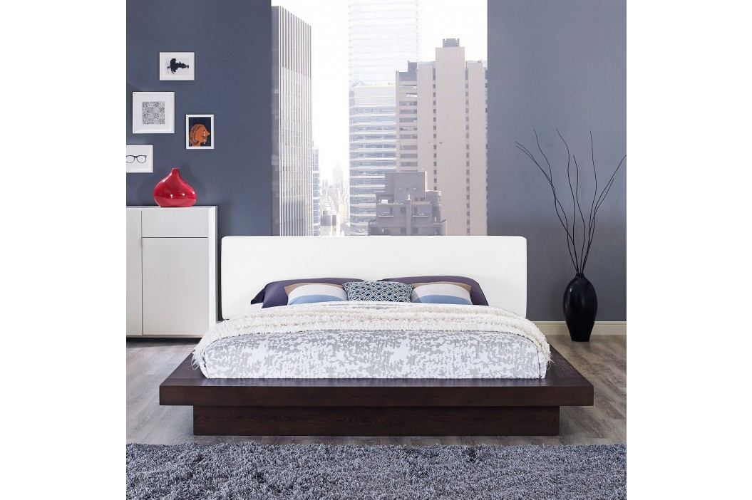 Freja Queen Vinyl Platform Bed in Cappuccino White Beds