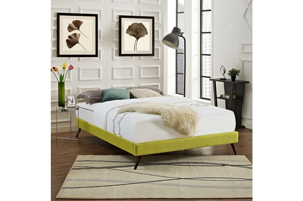Helen Full Fabric Bed Frame with Round Splayed Legs in Wheatgrass Beds