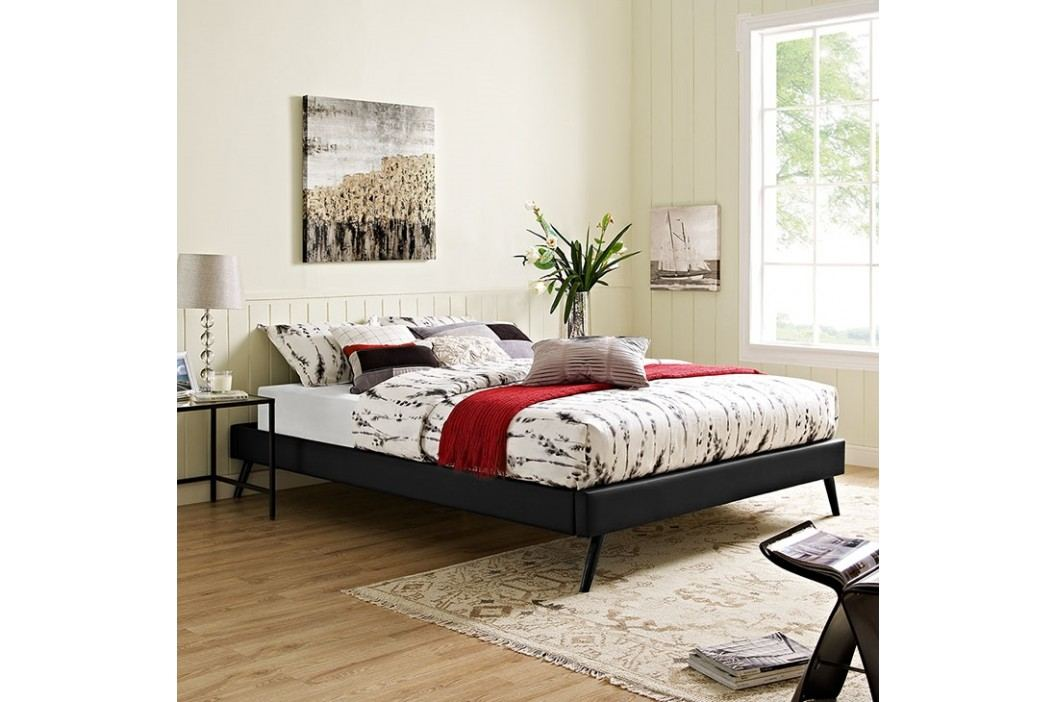 Helen Full Vinyl Bed Frame with Round Splayed Legs in Black Beds