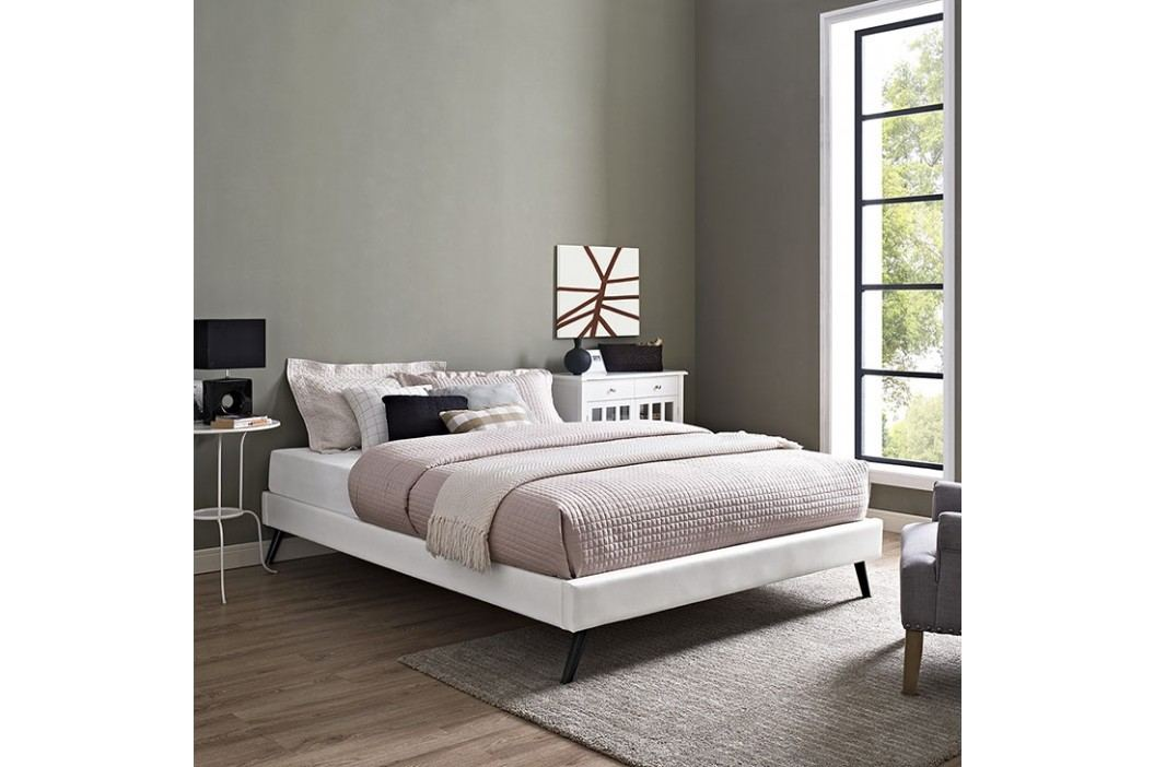 Helen Full Vinyl Bed Frame with Round Splayed Legs in White Beds