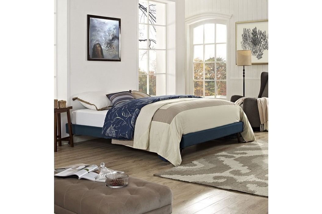 Helen King Fabric Bed Frame with Round Splayed Legs in Azure Beds