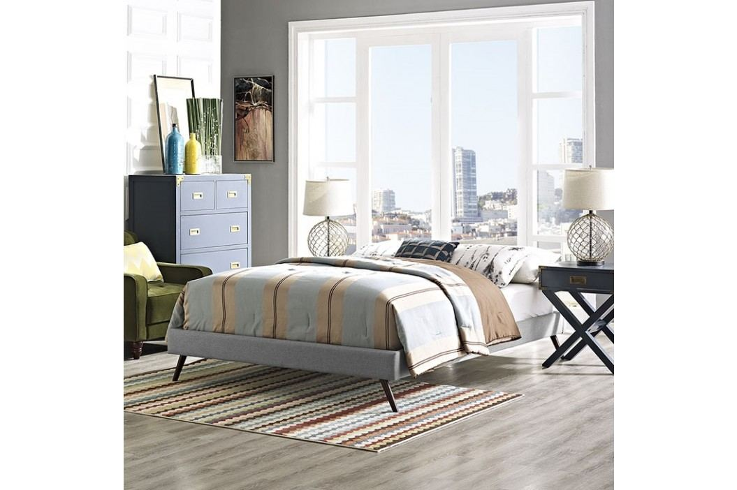 Helen King Fabric Bed Frame with Round Splayed Legs in Light Gray