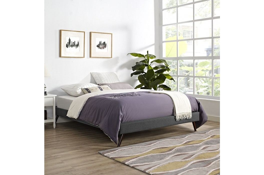 Helen Queen Fabric Bed Frame with Round Splayed Legs in Gray Beds