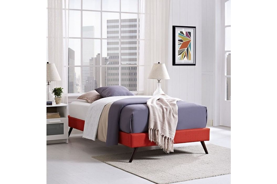 Helen Twin Fabric Bed Frame with Round Splayed Legs in Atomic Red Beds