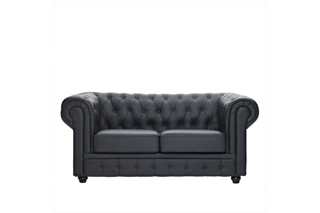 Chesterfield Leather Loveseat in Black Love Seats