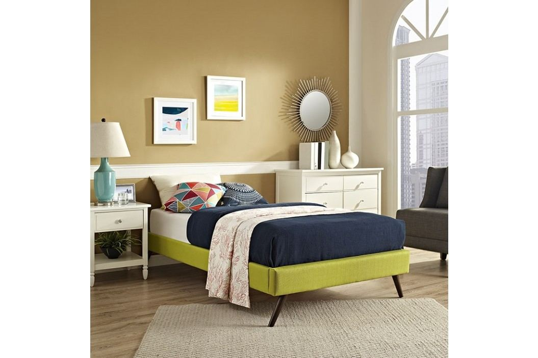 Helen Twin Fabric Bed Frame with Round Splayed Legs in Wheatgrass Beds