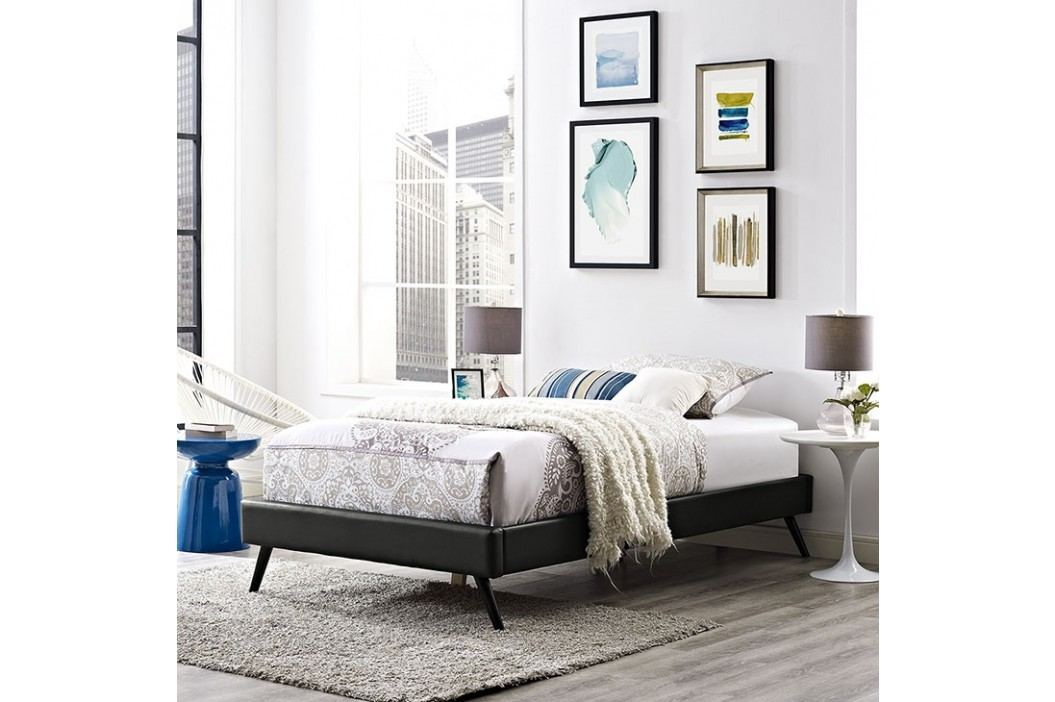 Helen Twin Vinyl Bed Frame with Round Splayed Legs in Black Beds