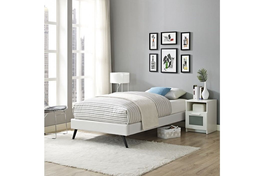 Helen Twin Vinyl Bed Frame with Round Splayed Legs in White Beds