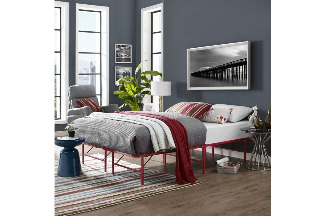 Horizon Queen Stainless Steel Bed Frame in Red Beds