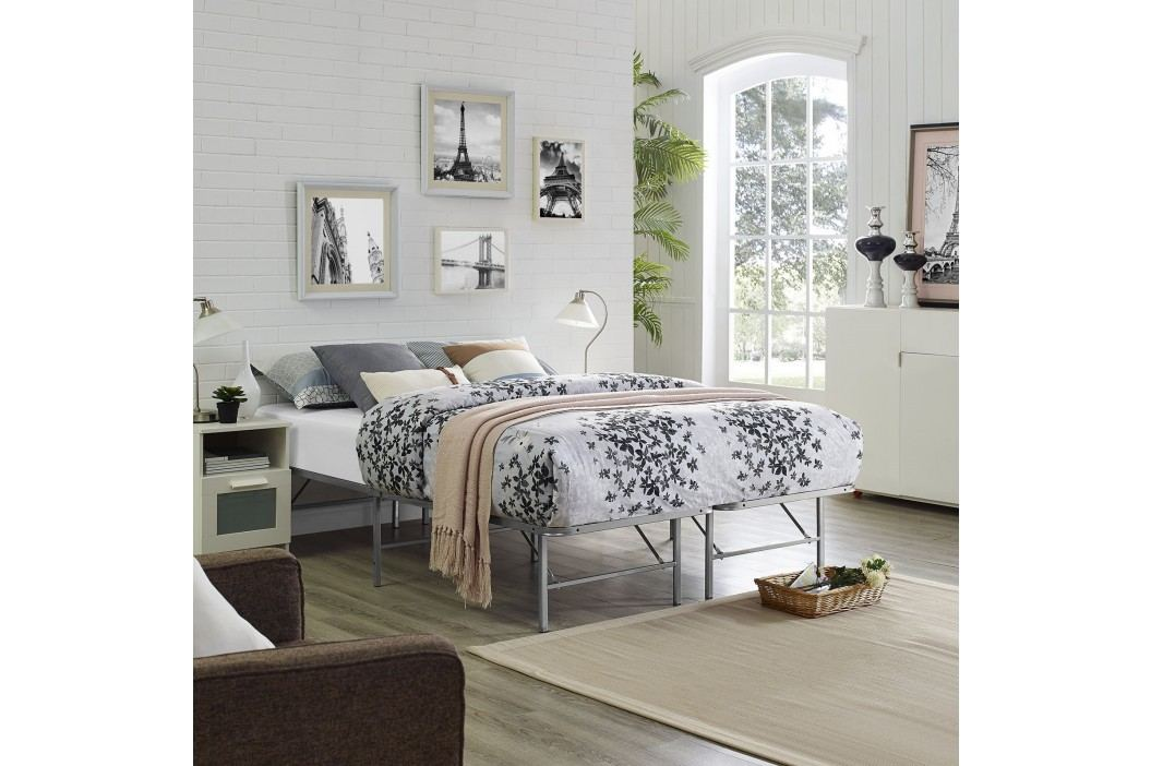 Horizon Queen Stainless Steel Bed Frame in Silver Beds