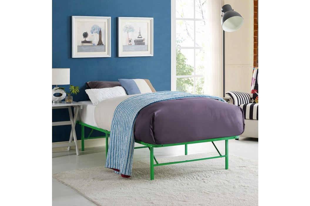 Horizon Twin Stainless Steel Bed Frame in Green Beds