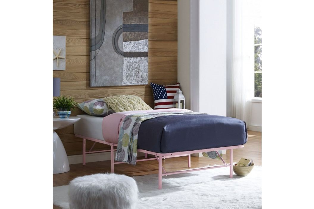 Horizon Twin Stainless Steel Bed Frame in Pink Beds