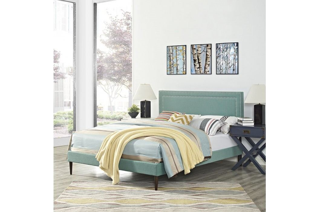 Jessamine Full Fabric Platform Bed with Round Tapered Legs in Laguna Beds