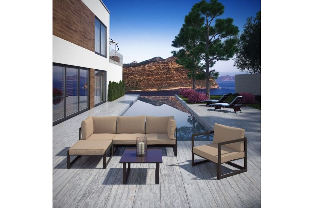 Fortuna 6 Piece Outdoor Patio Sectional Sofa Set in Brown Mocha Products
