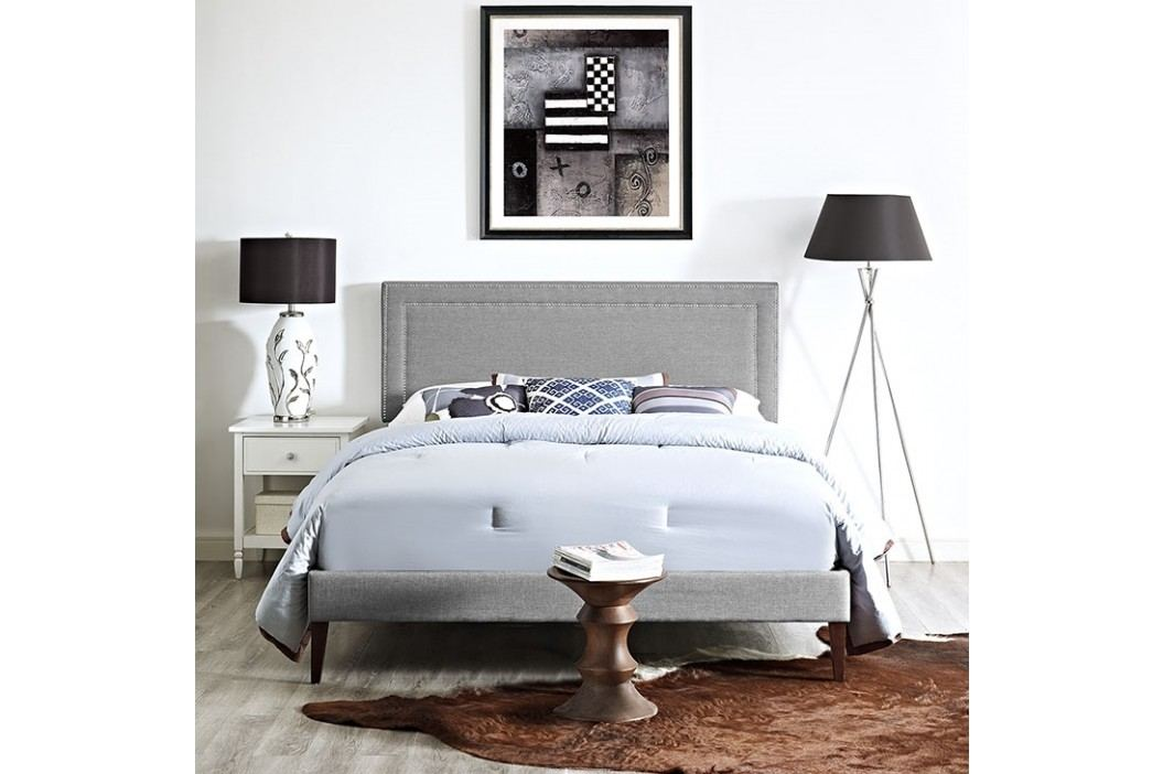 Jessamine Full Fabric Platform Bed with Squared Tapered Legs in Light Gray Beds