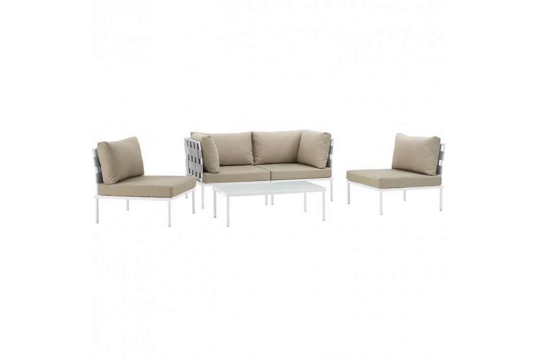Harmony 5 Piece Outdoor Patio Aluminum Sectional Sofa Set in White Beige Products