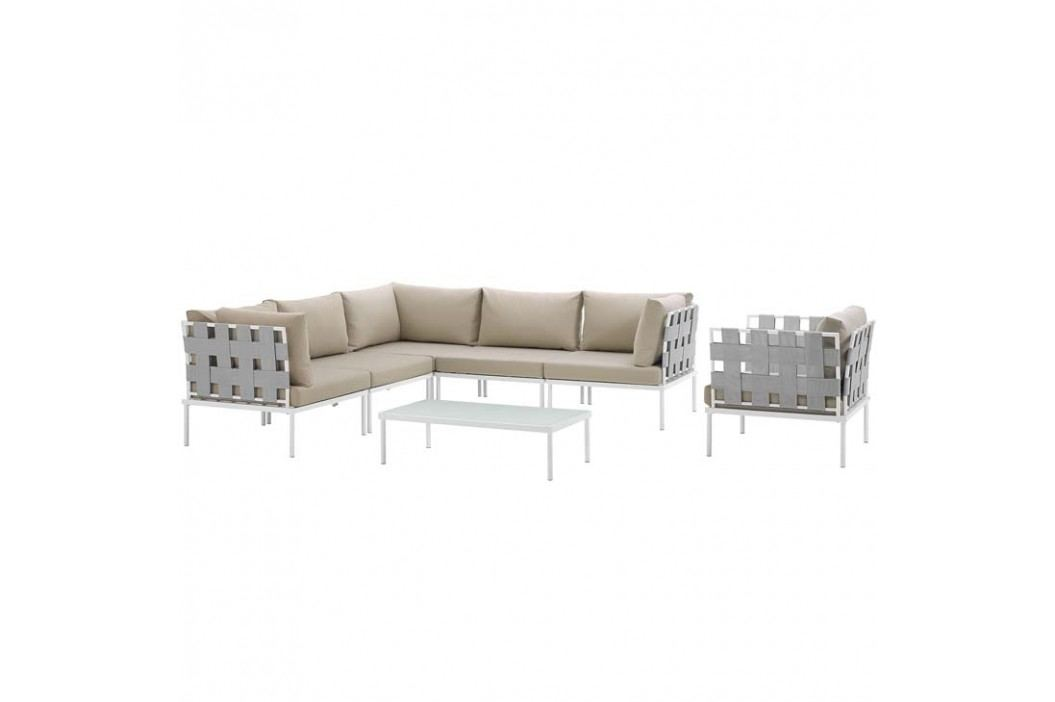 Harmony 7 Piece Outdoor Patio Aluminum Sectional Sofa Set in White Beige Products
