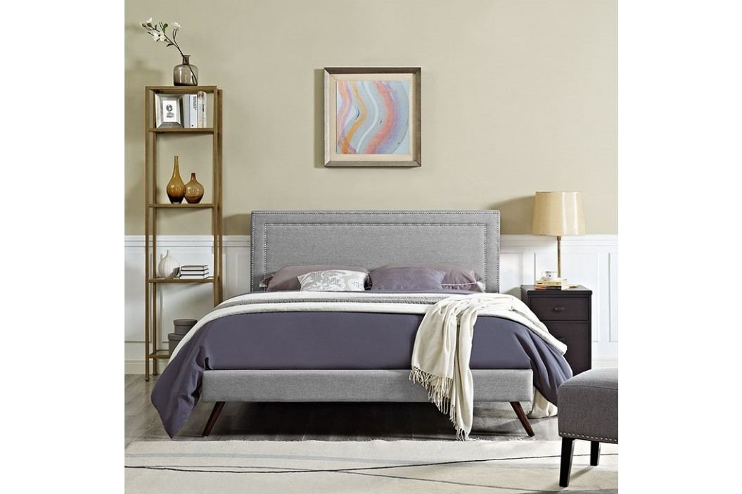 Jessamine King Fabric Platform Bed with Round Splayed Legs in Light Gray Beds