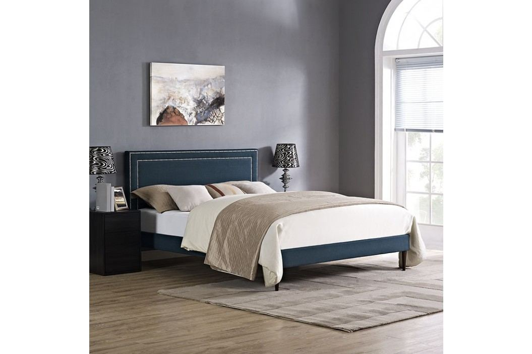 Jessamine King Fabric Platform Bed with Round Tapered Legs in Azure Beds