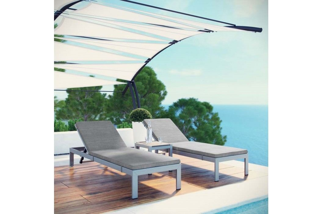 Shore 3 Piece Outdoor Patio Aluminum Chaise with Cushions in Silver Gray Products