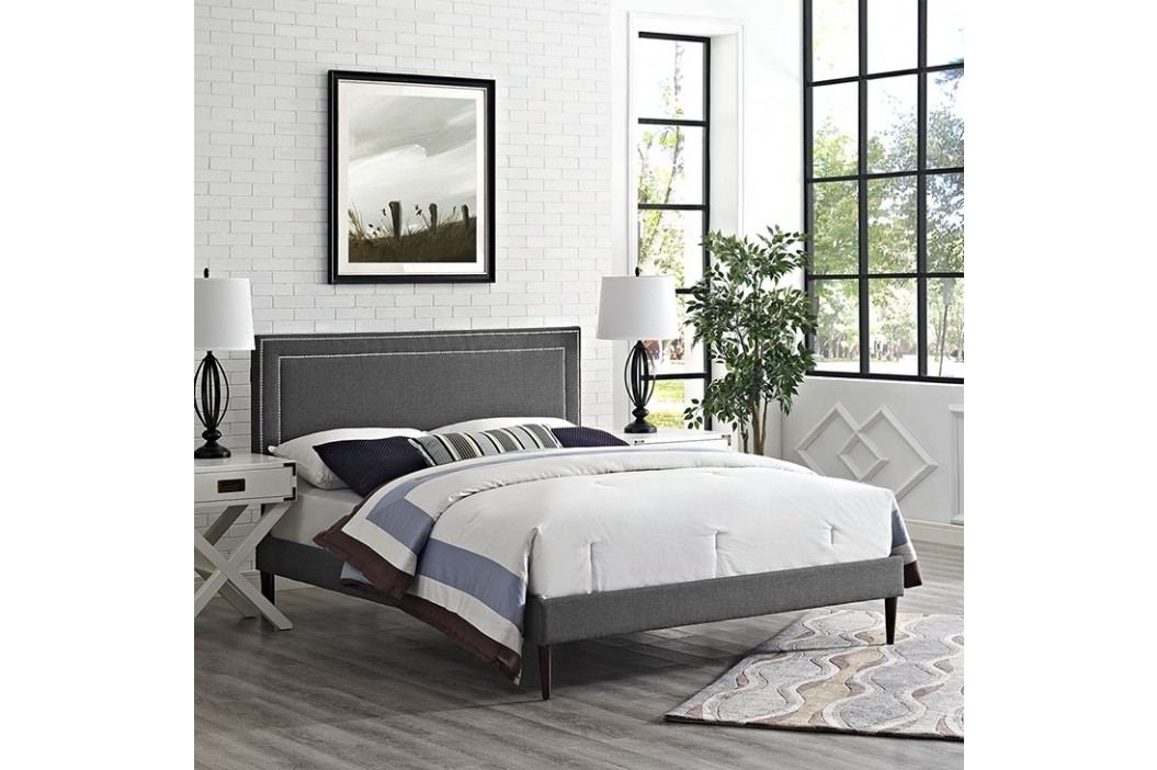 Jessamine King Fabric Platform Bed with Round Tapered Legs in Gray Beds