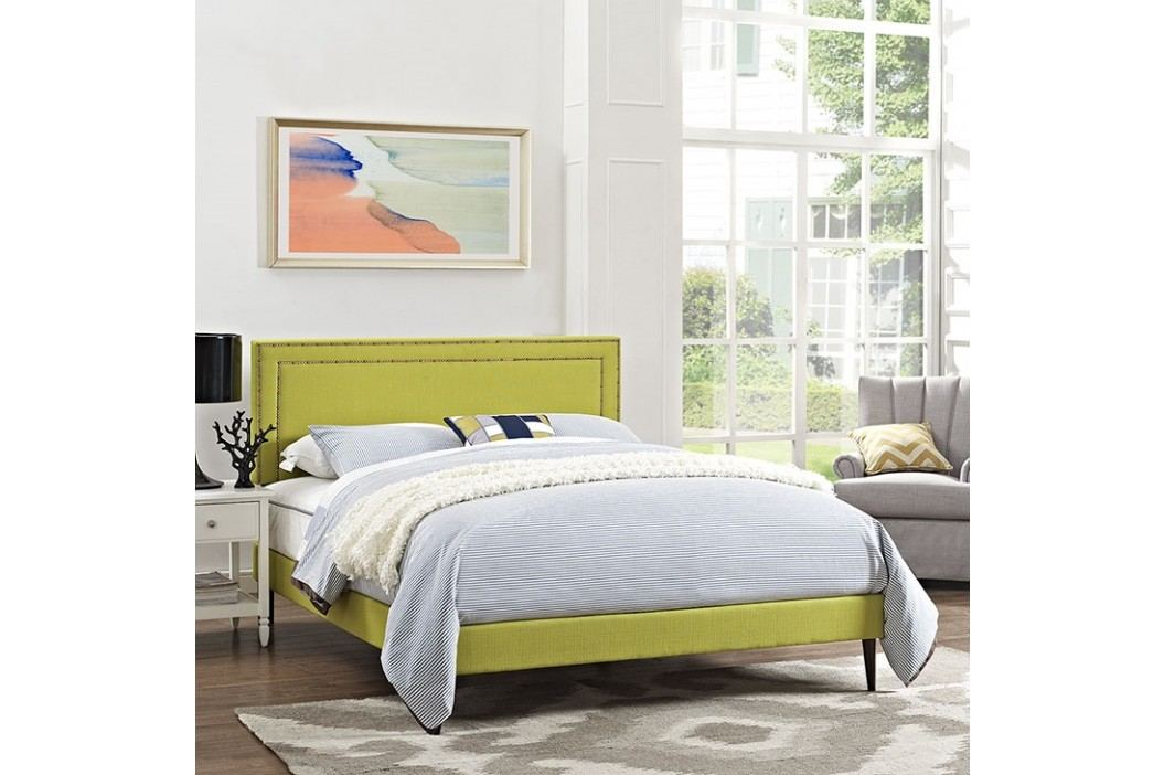 Jessamine King Fabric Platform Bed with Round Tapered Legs in Wheatgrass Beds