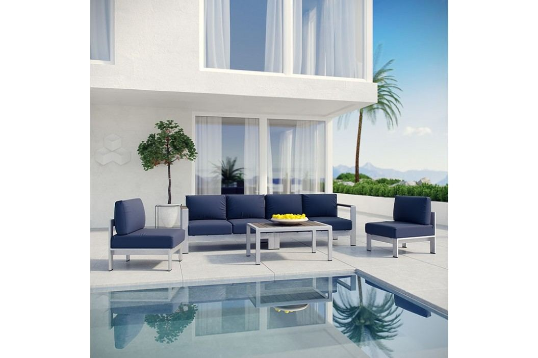 Shore 5 Piece Outdoor Patio Aluminum Sectional Sofa Set in Silver Navy Products