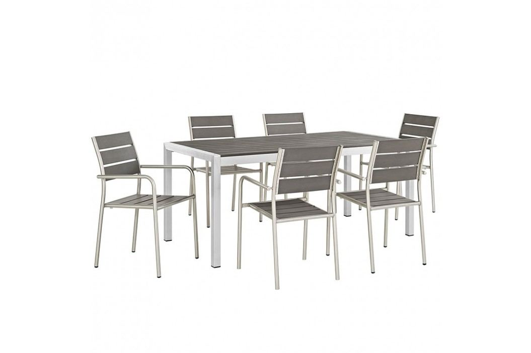 Shore 7 Piece Outdoor Patio Aluminum Dining Set in Silver Black Products