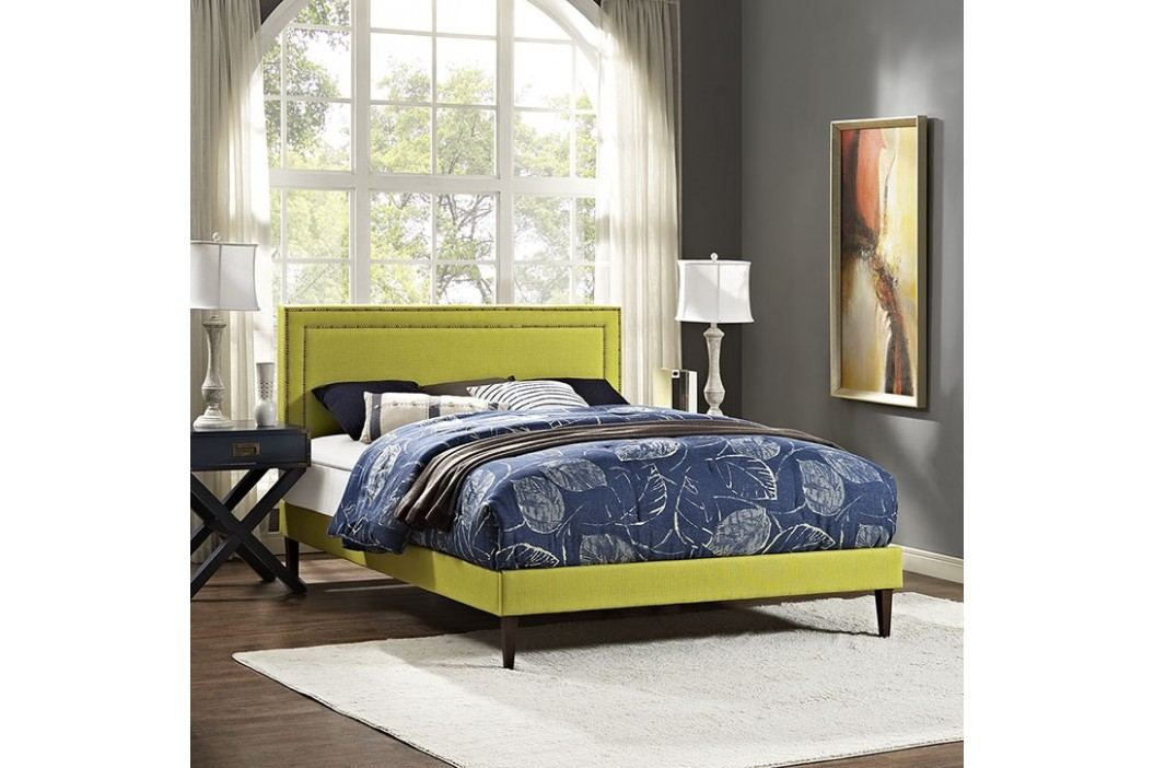 Jessamine King Fabric Platform Bed with Squared Tapered Legs in Wheatgrass Beds