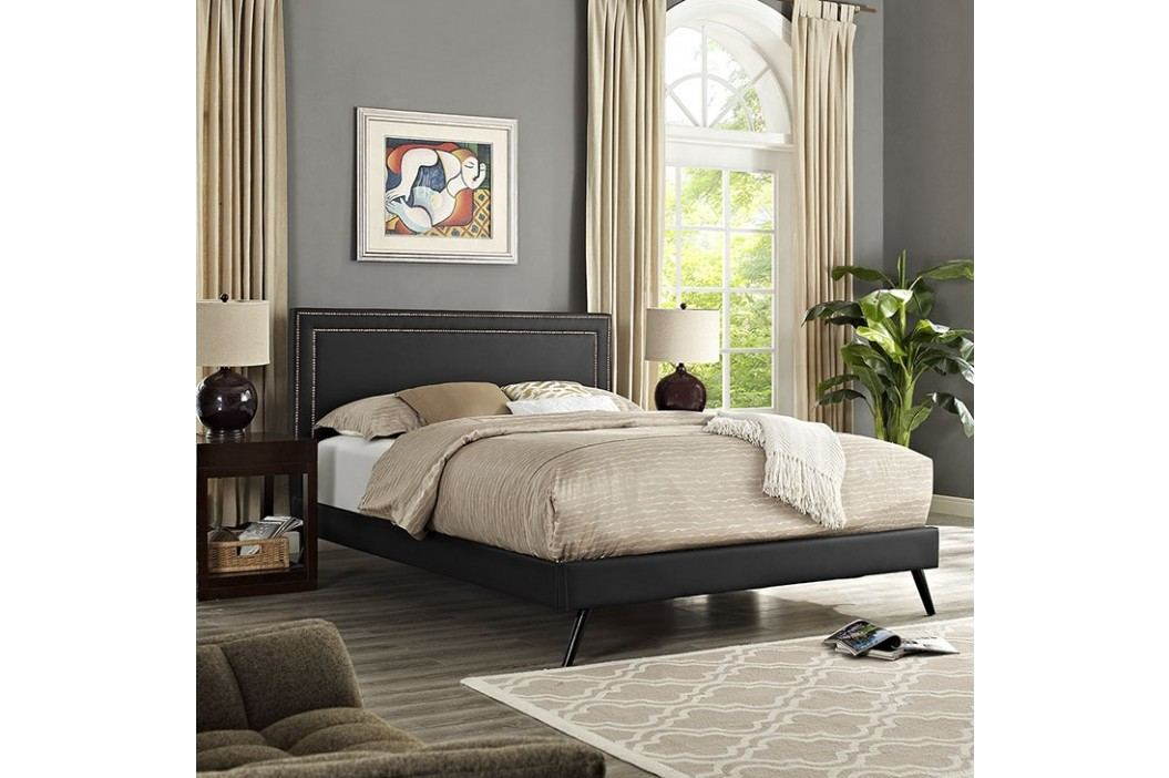 Jessamine King Vinyl Platform Bed with Round Splayed Legs in Black Beds