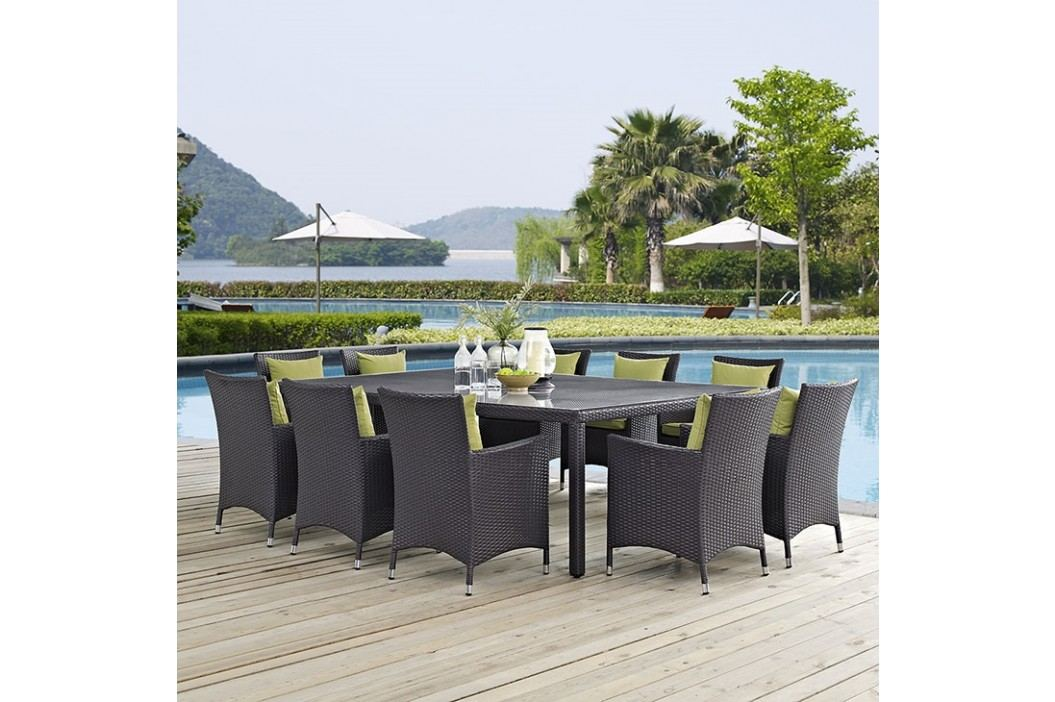 Convene 11 Piece Outdoor Patio Dining Set in Espresso Peridot Dining room