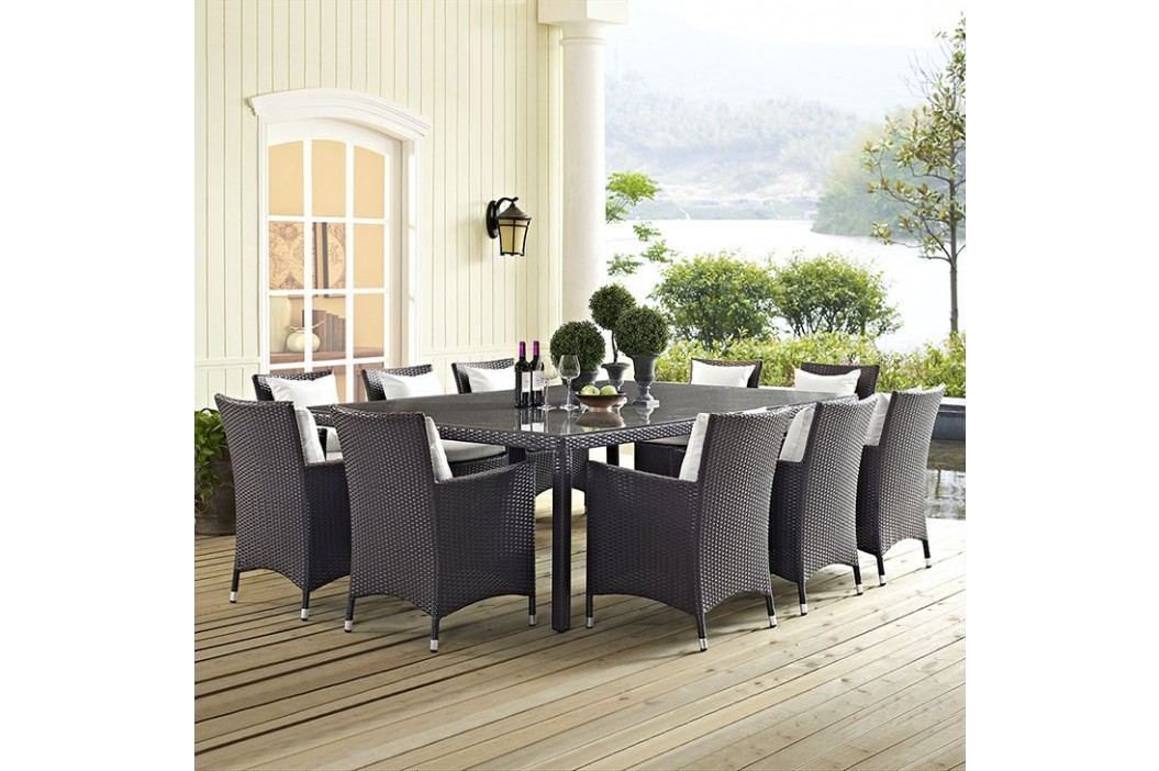 Convene 11 Piece Outdoor Patio Dining Set in Espresso White Dining room