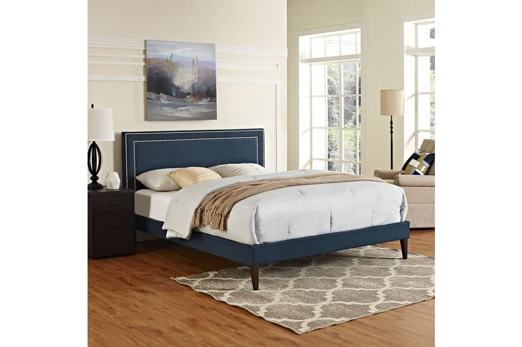Jessamine Queen Fabric Platform Bed with Squared Tapered Legs in Azure Beds