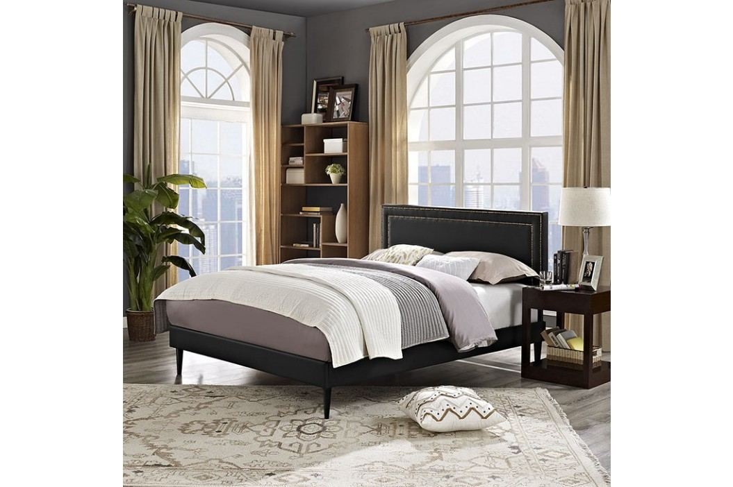 Jessamine  Queen Vinyl Platform Bed with Round Tapered Legs in Black Beds