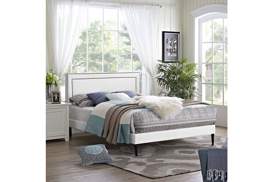 Jessamine  Queen Vinyl Platform Bed with Round Tapered Legs in White Beds