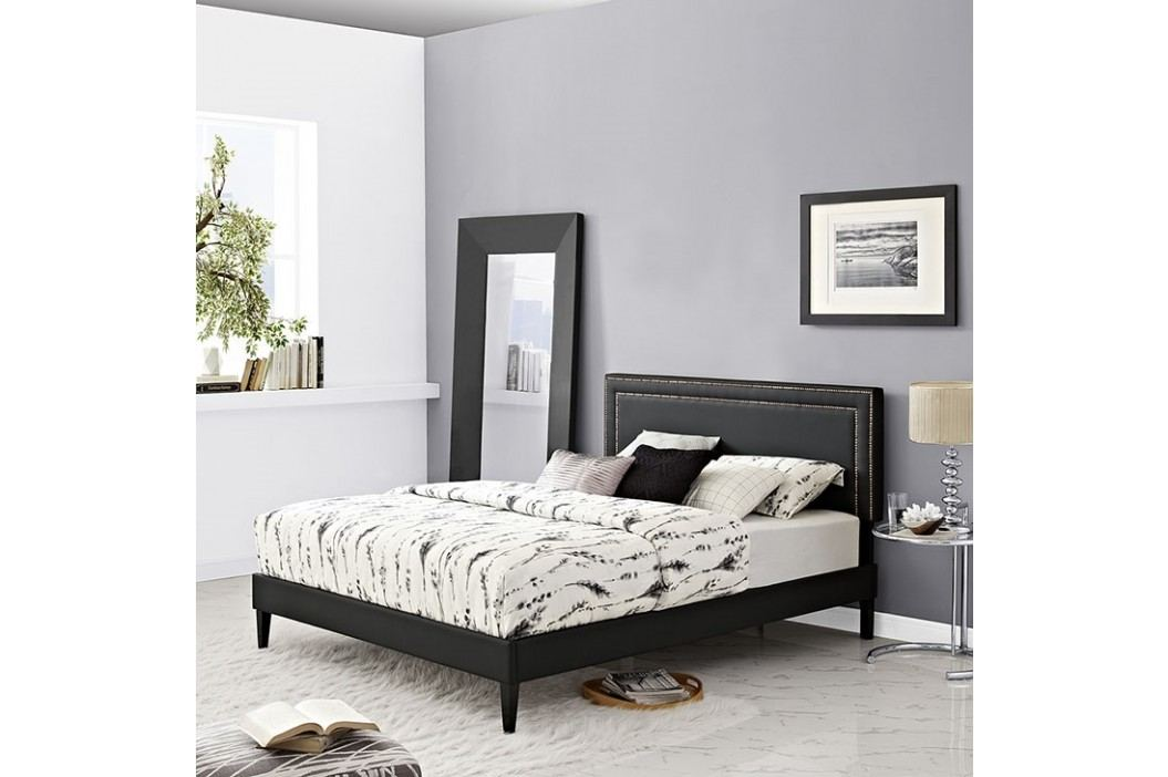 Jessamine  Queen Vinyl Platform Bed with Squared Tapered Legs in Black Beds