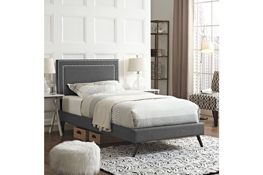Jessamine  Twin Fabric Platform Bed with Round Splayed Legs in Gray Beds