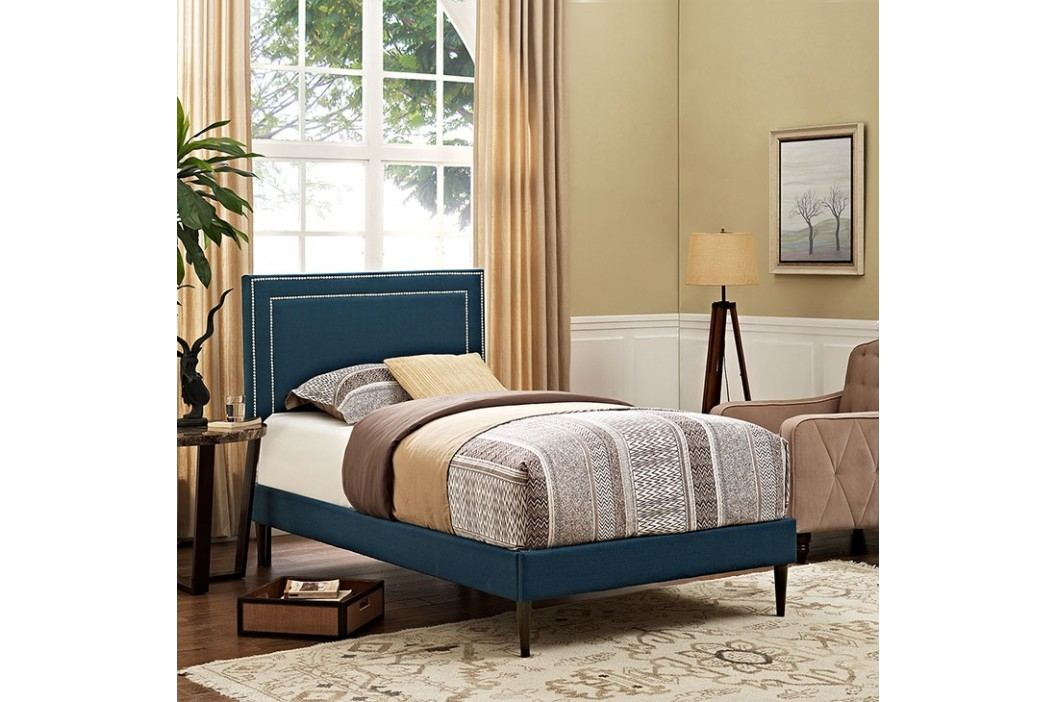 Jessamine  Twin Fabric Platform Bed with Round Tapered Legs in Azure Beds