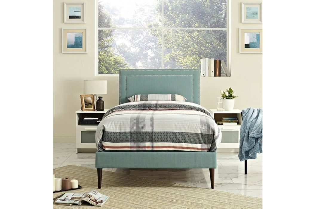 Jessamine  Twin Fabric Platform Bed with Round Tapered Legs in Laguna Beds