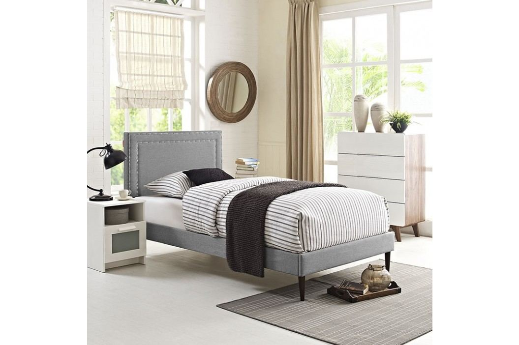 Jessamine  Twin Fabric Platform Bed with Round Tapered Legs in Light Gray Beds