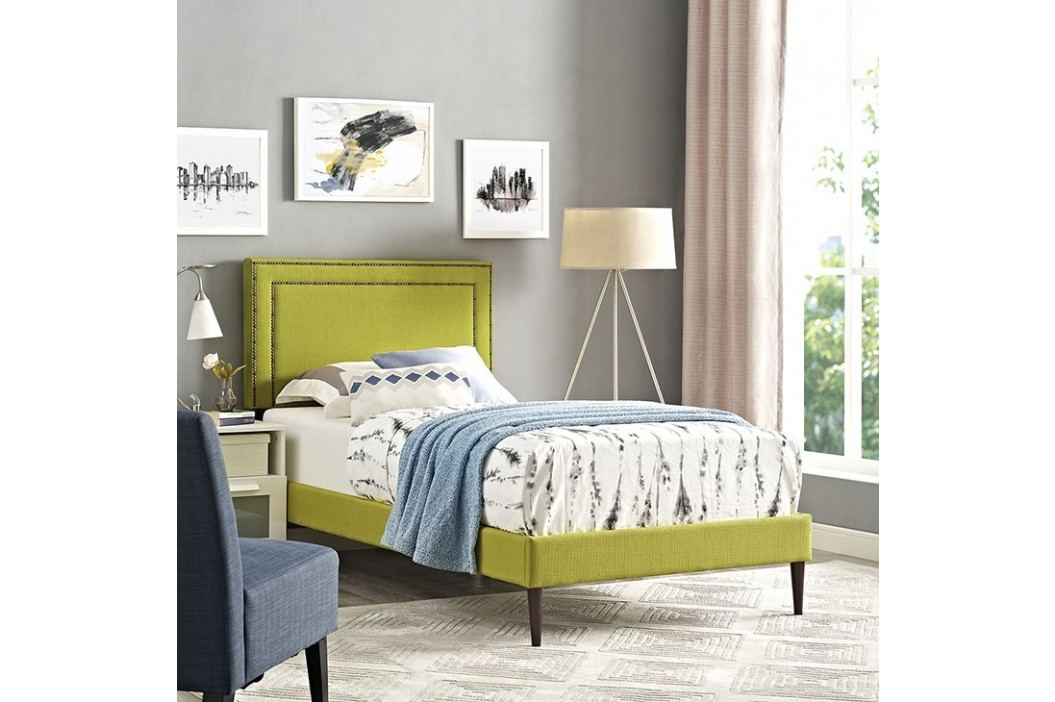 Jessamine  Twin Fabric Platform Bed with Round Tapered Legs in Wheatgrass Beds