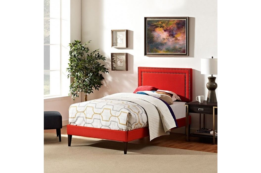 Jessamine  Twin Fabric Platform Bed with Squared Tapered Legs in Atomic Red